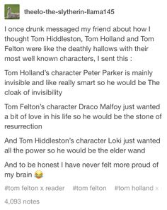 You are in the right place about detective Riddles Here we offer you the most beautiful pictures about the Riddles me this you are looking fo Harry Potter Universal, Harry Potter Fandom, Harry Potter Memes, Marvel Jokes, Marvel Funny, Fandom Crossover, Tom Felton, Tom Hiddleston Loki, Book Fandoms