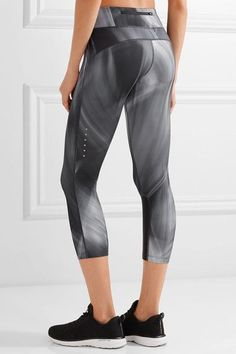 Nike - Power Epic Run Mesh-trimmed Printed Stretch Leggings - Charcoal - x small