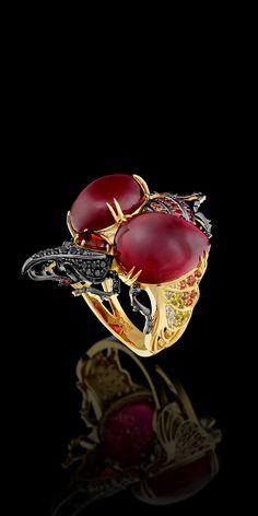 #Capri #Jewelers #Arizona ~ www.caprijewelersaz.com  ♥ 18k yellow gold , rubies, 20.01 ct diamonds, colored sapphires, rubies,garnet