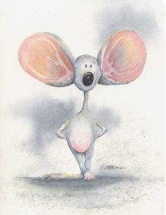 Original Watercolor 9 by 12 inch portrait of a BIG earred mouse cute Eek A Mouse, Cute Mouse, Cartoon Rat, Mouse Paint, Hamster, Whimsical Art, Cute Illustration, Animal Drawings, Rock Art