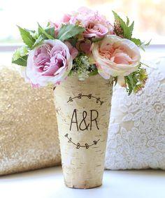 Look at this #zulilyfind! Initial Engraved Birch-Bark Vase #zulilyfinds