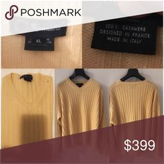 Faconnable Sweater Yellow 100% Cashmere Sweater. Faconnable Sweaters V-Neck