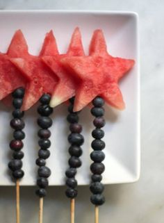 Watermelon stars with blueberries - 4th of July