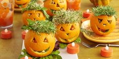 A citrusy salad dressed in orange makes for an amusing Halloween centerpiece. Hand-carved oranges are filled with a fresh mixture of DOLE® Power Up Greens™ Spring Mix and Greens, papaya, lentils, pumpkin seeds and hazelnuts, tossed in an orange vinaigrette. Top with alfalfa sprouts to complete this spooky look.