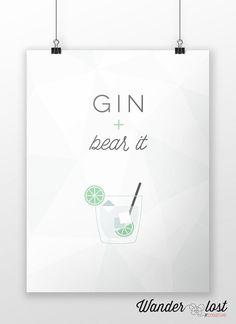 Gin  Bear It  Punny Printable Geometric Gin by WanderlostCreative