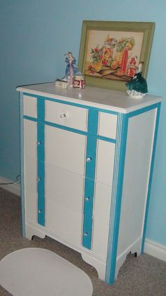 drab dresser transformed to Cottage Chic handpainted in blue and white with crystal knobs Upcycled Furniture Before And After, Repurposed Furniture, Crystal Knobs, Cottage Chic, Dresser, Blue And White, Hand Painted, Home Decor, Powder Room