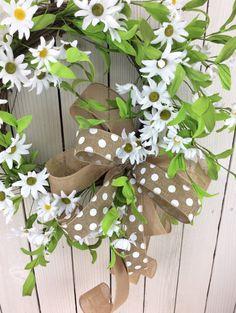 Daisy wreath spring flower wreath summer wreath front by Keleas