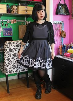 "Gothic Cemetery ""Lizzie"" dress by Sourpuss - an OOTD on Betties N Brimstone blog - ""The Secret to Getting Me to Buy Stuff from You..."" -  be sure to share/re-pin for fashion inspiration/reference!"