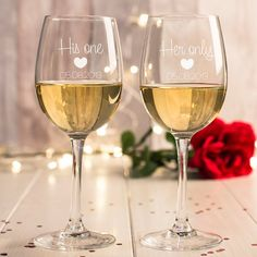 Engraved with the date of your choice | Personalised Set Of 2 Wine Glasses - His One, Her Only | GettingPersonal.co.uk