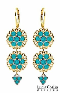 Lucia Costin Dangle Flower Earrings Made of 24K Yellow Gold Plated over .925 Sterling Silver with Turquoise - Green Swarovski Crystal Flowers Surrounded by Filigree Elements, Crafted with Lovely Charms Lucia Costin. $78.00. Lucia Costin flower shaped drop earrings. Mesmerizing enough to wear on special occasions, but durable enough to be worn daily. Unique jewelry handmade in USA. Flowers and fancy ornaments beautifully combined. Beautifully crafted with blue - green Swa...