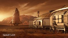 Concept art for The Martian: The base and return vehicle