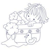 Bluework Bath Time Babies (5x5) - Embroidery Delight | OregonPatchWorks