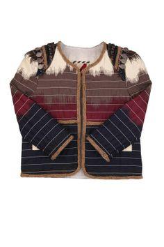 juno denim embellished  jacket IKAT PRINT kids cotton on