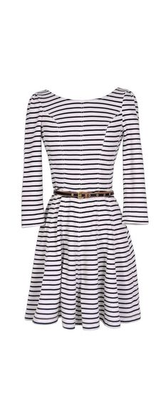Ships Ahoy Belted Stripe Designer Dress