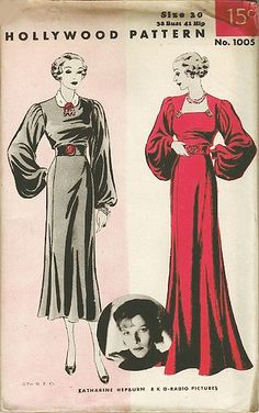 Hollywood gown sewing pattern, 1930's.