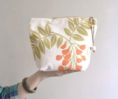 Simple makeup bag  medium cotton cosmetic bag. flower by overdo