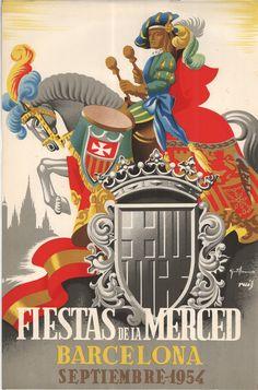 #Cartells #Franquisme #Festes_de_la_Mercè  #Barcelona Barcelona, Las Mercedes, Balearic Islands, Travel Posters, Portugal, Painting, Vintage Posters, Celebration, Exhibitions