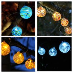 Aurora Glow Solar String Lights ... beautiful hand-blown glass to accent your backyard. The solar panel charges them by day and you enjoy their glow all night. $59.95