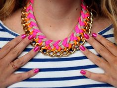 Chevron and Chain Necklace You can Make Yourself! Add a pop of color to those fall outfits! http://www.ivillage.com/jewelry-how-diy-necklace-tutorial/5-a-538069
