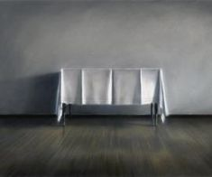 """60th St. Studio: White Tablecloth"", 1983, pastel, 28 X 44 inches; collection: City of Seattle"