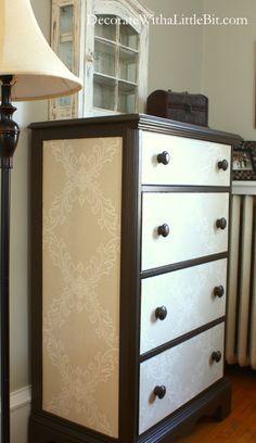 Wallpaper on a dresser, what an amazing idea!