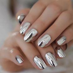 Colorful Nail Designs, Nail Art Designs, Nails Design, Beautiful Nail Designs, Glue On Nails, Diy Nails, Make Nails Grow, Mirror Nails, Nail Length
