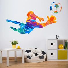 Transform a child's bedroom into a football themed room with this football wall decal sticker from Icon Wall Stickers! This brightly coloured wall sticker is available in 8 sizes.   #footballwallsticker #personalisedfootballwallsticker #footballwalldecal #footballthemedbedroom #footballbedroomideas #Iconwallstickers Football Bedroom, Football Wall, Football Wreath, Wall Decal Sticker, Wall Stickers, Bedroom Themes, Kids Bedroom, Sports Wall, Goalkeeper