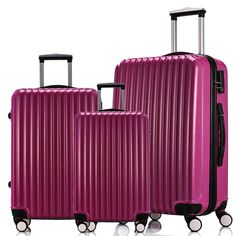 3PCS Luggage Travel Set ABS PC Spinner Wheel Trolley Hard Shell Suitcase Purple #Focheir