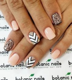 Geo Nudes. This geometrical nude nail art is one of my favorite design because of the fact that it incorporates the trendy nude shades along with the glitter and geometry as well. The best part is that, it is really easy to do.