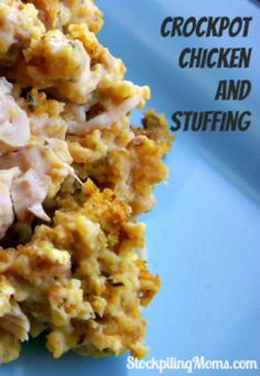 Crockpot Chicken and Stuffing is so easy to make with only 4 ingredients and a crockpot!  My family loves this dinner recipe!  I love how easy it is to prepare!  They always ask for more.  This is a must pin!