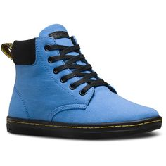 Dr. Martens Canvas Maelly Ankle Boots ($56) ❤ liked on Polyvore featuring shoes, boots, ankle booties, blue, canvas booties, blue bootie, blue ankle boots, rubber sole boots and blue booties
