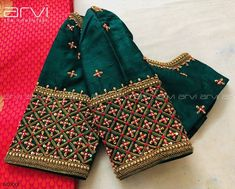 Stunning bottle green color designer blouse with … Custom-Tailored Bridal Blouse. Stunning bottle green color designer blouse with hand embroidery thread and zardosi work. Indian Blouse Designs, Wedding Saree Blouse Designs, Half Saree Designs, Simple Blouse Designs, Stylish Blouse Design, Pattu Saree Blouse Designs, Blouse Neck Designs, Blouse Designs Embroidery, Zardosi Work Blouse
