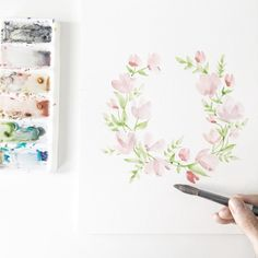 Paint With Me: Watercolour Floral Wreath Tutorial for Beginners - Wonder Forest Watercolor Flower Wreath, Watercolor Flowers Tutorial, Watercolour Tutorials, Floral Watercolor, Watercolour How To, Watercolor Postcard, Watercolor Art Paintings, Watercolor Projects, Watercolors