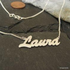 Namenskette mit Wunschname bis zu 9 Buchstaben in 925er Silber, Länge: 44 cm