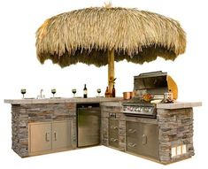 Just when you need more options to go with the flow of barbeque parties, Bull Outdoor Products bring to you the ultimate barbecuing experience by adding different options such as CD Players and Bar Centers to their line of grills. My pick is this Gourmet Q with Tiki styled umbrella, the largest of their islands grills and just perfect for your outdoor kitchen needs