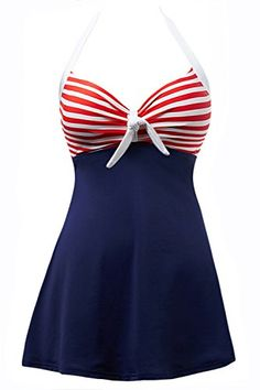 YaYa Bay Swimsuit YaYa Bay Womens Vintage Sailor Straps Halter Pin Up Swimsuit One Piece Cover Up Bathing Suit Pin Up Swimsuit, Halter One Piece Swimsuit, Striped Swimsuit, Swimsuit Cover Ups, Vintage One Piece Swimsuits, Cute Swimsuits, Women Swimsuits, Vintage Sailor, Plus Size Vintage