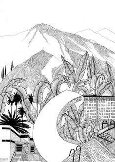 masha karpushina illustration handdrawn city LA leaves