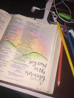 Joy comes in the morning #psalm32:1 #biblejournaling #sun #pencil