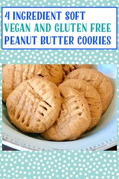 Gluten Free Peanut Butter Cookies Recipe, Soft Peanut Butter Cookies, Buttery Cookies, Natural Peanut Butter, Gluten Free Cookies, Cookies Ingredients, 4 Ingredients, Sweet Peanuts, Cookie Flavors