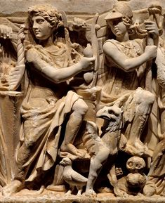 Apollo and Minerva (Athena), Roman relief (marble), sarcophagus with the two surrounded by the nine Muses - detail, 2nd century AD, (The Hermitage, St Petersburg).