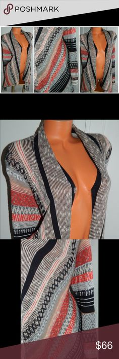 NIC & ZOE Open CARDIGAN SWEATER Tribal RED Black So Chic!! In gentle pre-owned condition NIC + ZOE Sweaters Cardigans