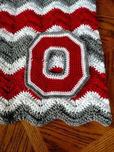 Large Ohio State Crochet Applique - Block O Patch - Large Crochet Applique Crochet Afghans, Crochet Stitches, Free Crochet, Crochet Blankets, Baby Blankets, Crochet Baby, Kids Crochet, Crochet Scarves, Crotchet