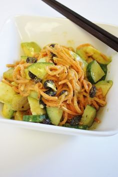 Yam Noodles with Miso Mustard Sauce (raw, vegan)
