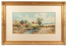 Antique Paintings, Watercolors Outdoor, Scenic, Genre, Americana