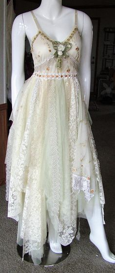 Woodland forest tattered wedding dress one of a kind maternity