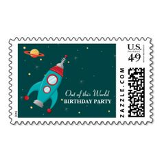 Fun outer space rocket birthday party stamps. Make your own business card with this great design. All you need is to add your info to this template. Click the image to try it out!