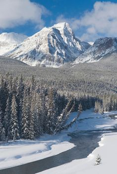 The Bow River and Peaks of the Bow Range in winter, Banff National Park Alberta Canada.  /Pretty EL./
