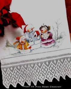 Barra de Croche e Pintura Tecido p Natal.