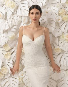 Lisboa by Rosa Clara  Mermaid wedding dress with an illusion bodice in which the embroidered crystal tulle, lace and beading create a spectacular second-skin effect. A dress with a sensual fitted skirt in crepe that streamlines the silhouette, highlighting the femininity of the bride's curves.  Raffaele Ciuca Bridal  Melbourne . Australia