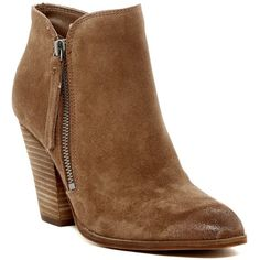 Dolce Vita Haydn Bootie ($85) ❤ liked on Polyvore featuring shoes, boots, ankle booties, rust suede, stacked heel ankle boots, stacked heel bootie, side zip boots, round toe boots and ankle boots